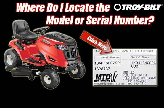 Locate Troy Bilt Model Info